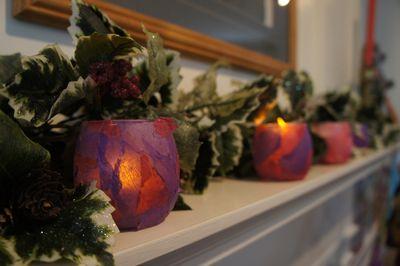 Advent joy pink purple candles