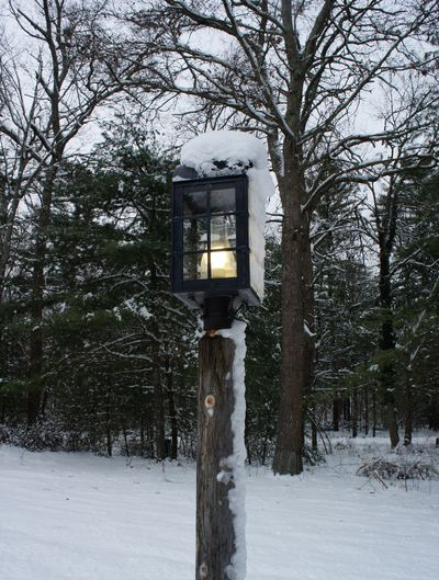 Snowy lamppost