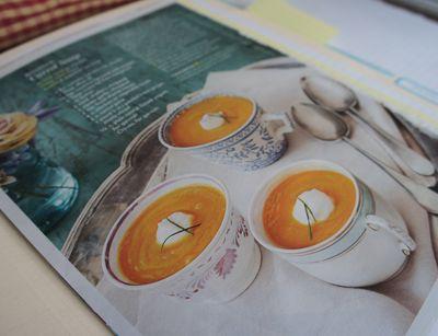 Carrot soup in tea cups