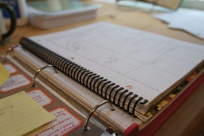 Planner laying on journal