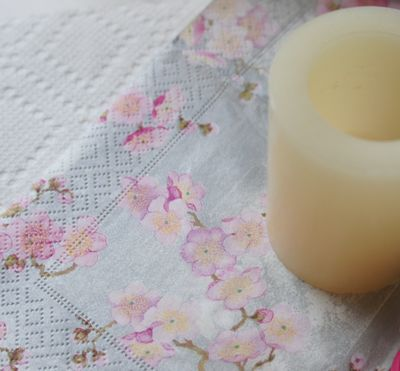Candle on napkin