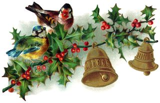 Vintage christmas bells and birds