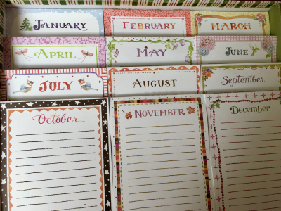 Monthly note pads