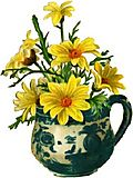 Yellow daisies in mug template