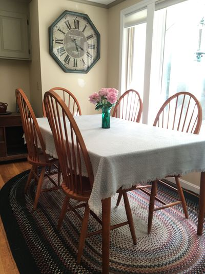 Kitchen table with peonies