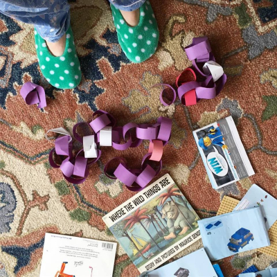 Paper chain on floor