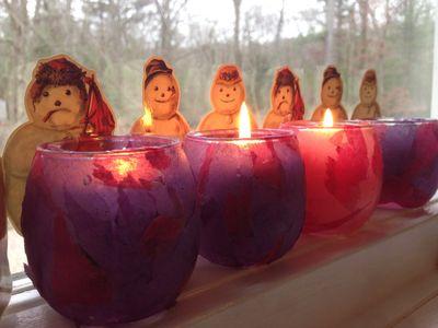 Advent candles snowmen