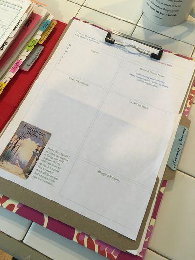 Planning sheet on folder