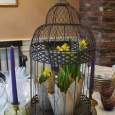Spring flowers, birdcages and pretty tinted glass ...